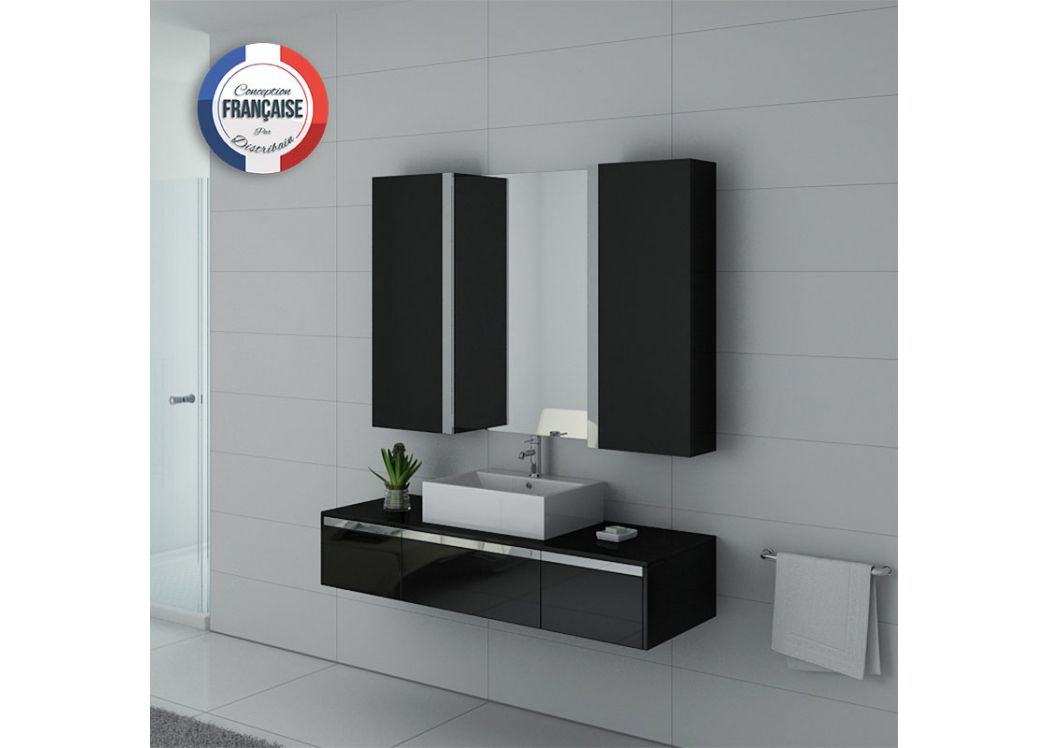meuble de salle de bain 140 cm simple vasque ensemble de salle de bain noir dis9650n distribain. Black Bedroom Furniture Sets. Home Design Ideas