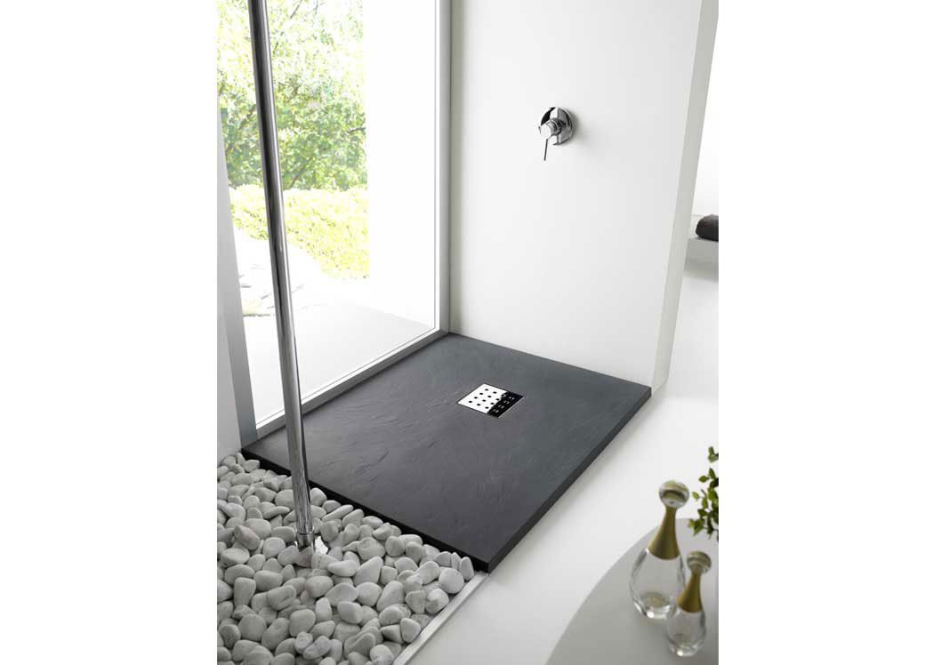 receveur de douche extra plat graphite pizarra. Black Bedroom Furniture Sets. Home Design Ideas