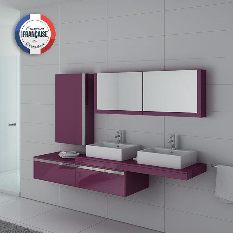 Meuble de salle de bain double vasque aubergine gloss et for Meuble salle de bain inox