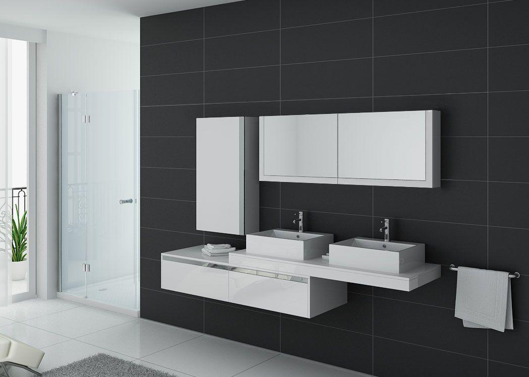 Meuble de salle de bain double vasque blanc gloss dis9551b for Meuble vasque salle de bain blanc