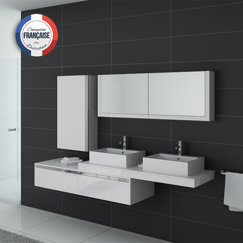 meuble de salle de bain double vasque blanc gloss dis9551b distribain. Black Bedroom Furniture Sets. Home Design Ideas