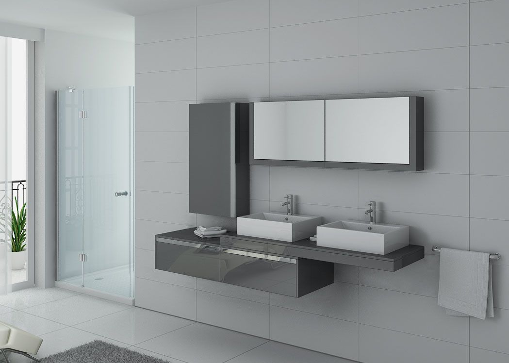 meuble de salle de bain double vasque gris taupe gloss dis9551gt distribain. Black Bedroom Furniture Sets. Home Design Ideas
