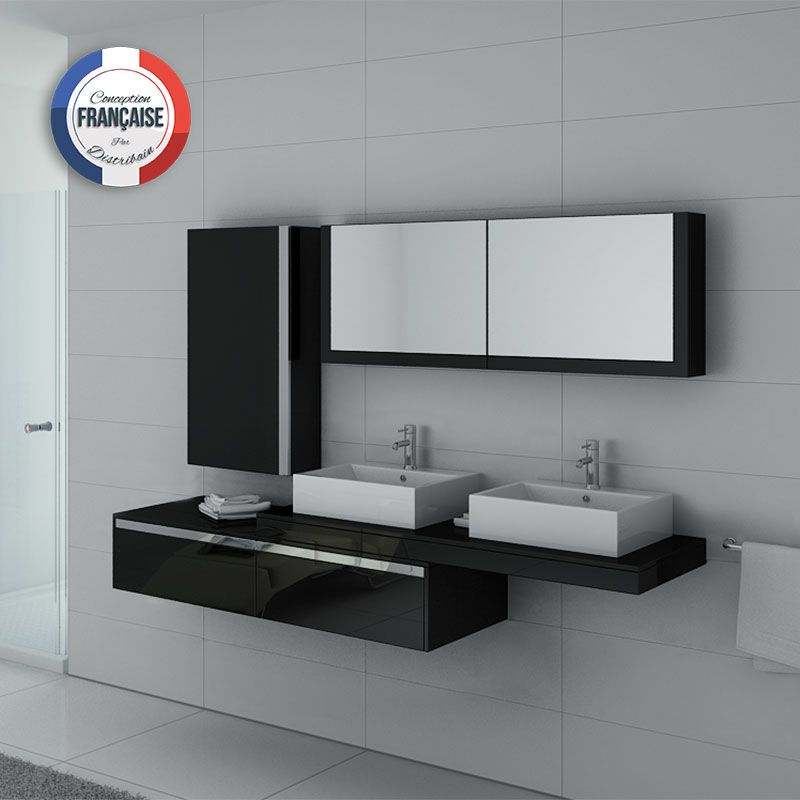 Meuble de salle de bain double vasque noir gloss dis9551n for Meuble double vasque noir