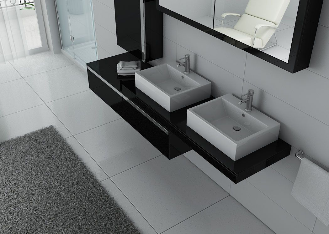 meuble de salle de bain double vasque design meuble de salle de bain 2 vasques noir. Black Bedroom Furniture Sets. Home Design Ideas