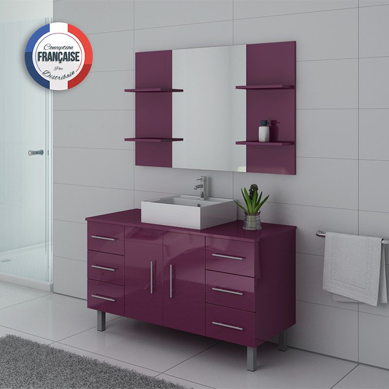 meuble de salle de bain simple vasque 120 cm ensemble de salle de bain aubergine turin distribain. Black Bedroom Furniture Sets. Home Design Ideas