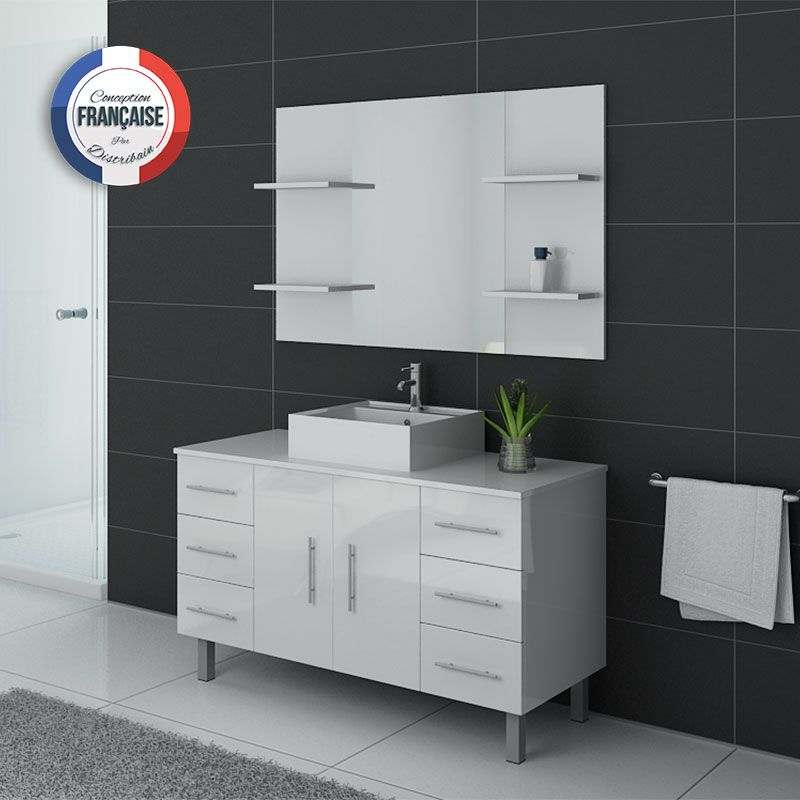 meuble de salle de bain 120 cm 1 vasque ensemble de salle de bain blanc turin distribain. Black Bedroom Furniture Sets. Home Design Ideas