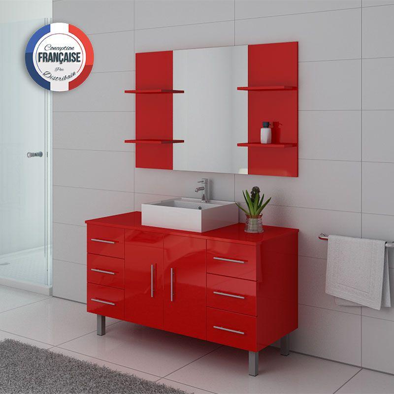 Meuble simple vasque sur pieds TURIN rouge Coquelicot