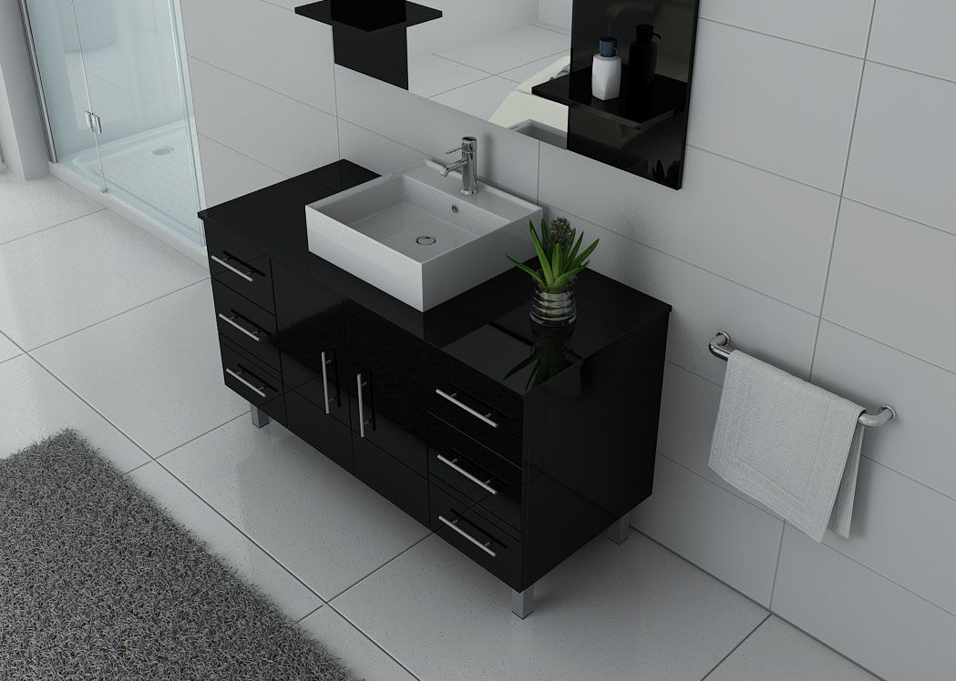 meuble de salle de bain 1 vasque 120 cm ensemble de salle de bain noir turin distribain. Black Bedroom Furniture Sets. Home Design Ideas