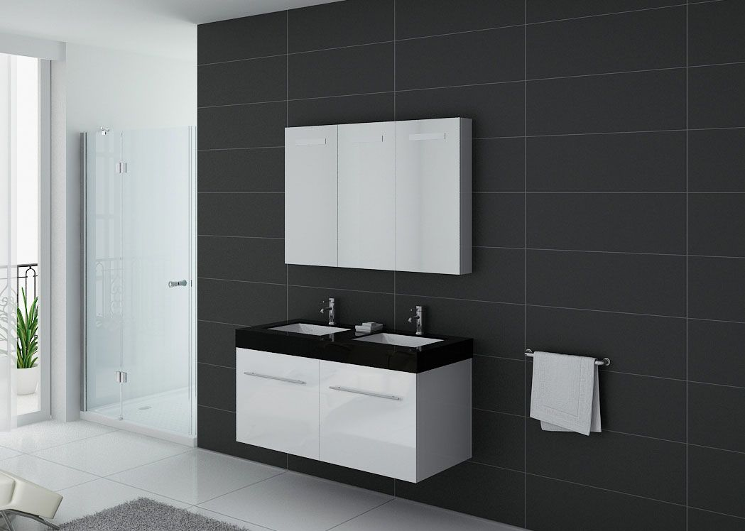 meuble de salle de bain double vasque noir et blanc. Black Bedroom Furniture Sets. Home Design Ideas