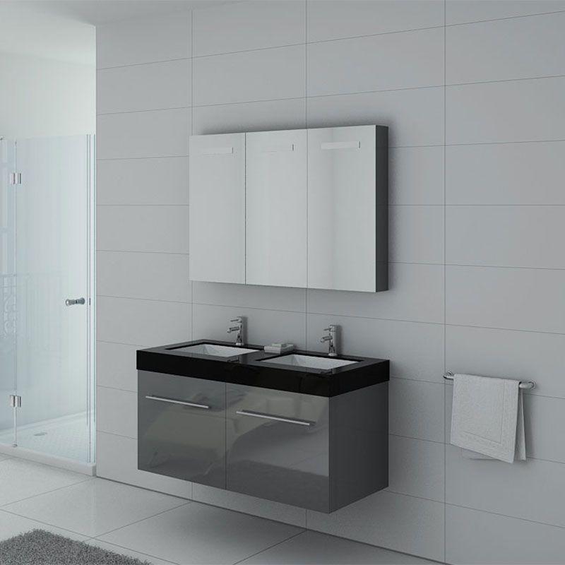 Meuble de salle de bain 120 cm double vasque, meuble double vasque gris  laqué DIS1200GT