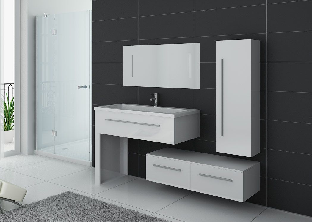 ensemble de meublede salle de bain 1 vasque meuble de salle de bain blanc dis9251b distribain. Black Bedroom Furniture Sets. Home Design Ideas