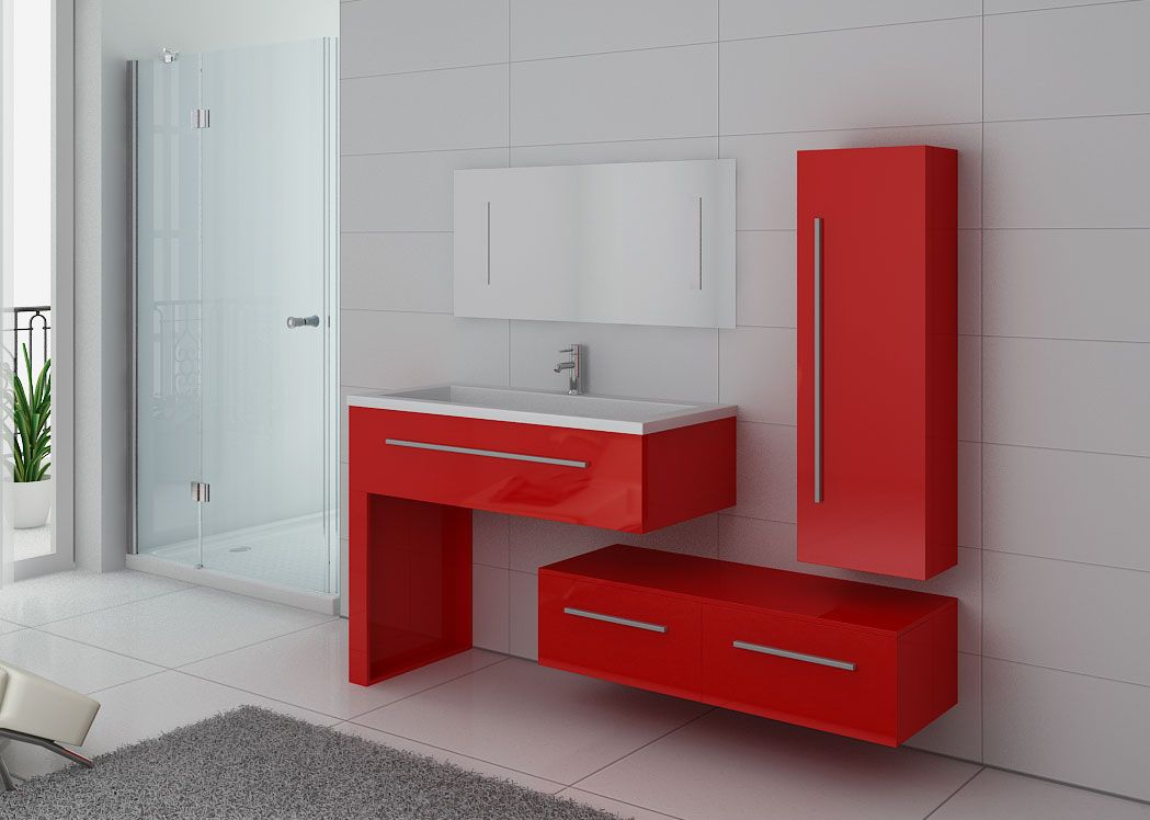 Ensemble simple vasque rouge de salle de bain dis9251co distribain - Meuble de salle de bain rouge ...