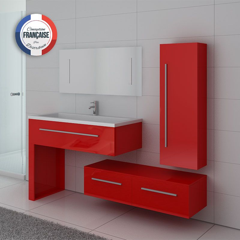 Meuble simple vasque DIS9251CO Rouge Coquelicot
