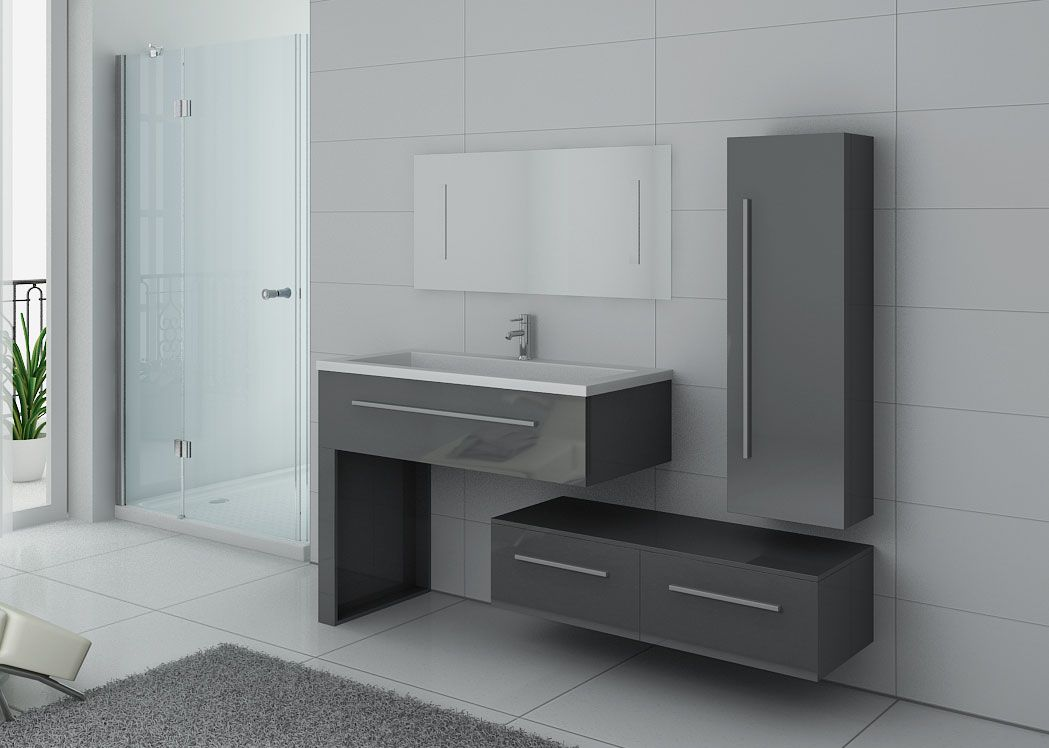 ensemble de meuble de salle de bain 1 vasque meuble de salle de bain gris dis9251gt distribain. Black Bedroom Furniture Sets. Home Design Ideas
