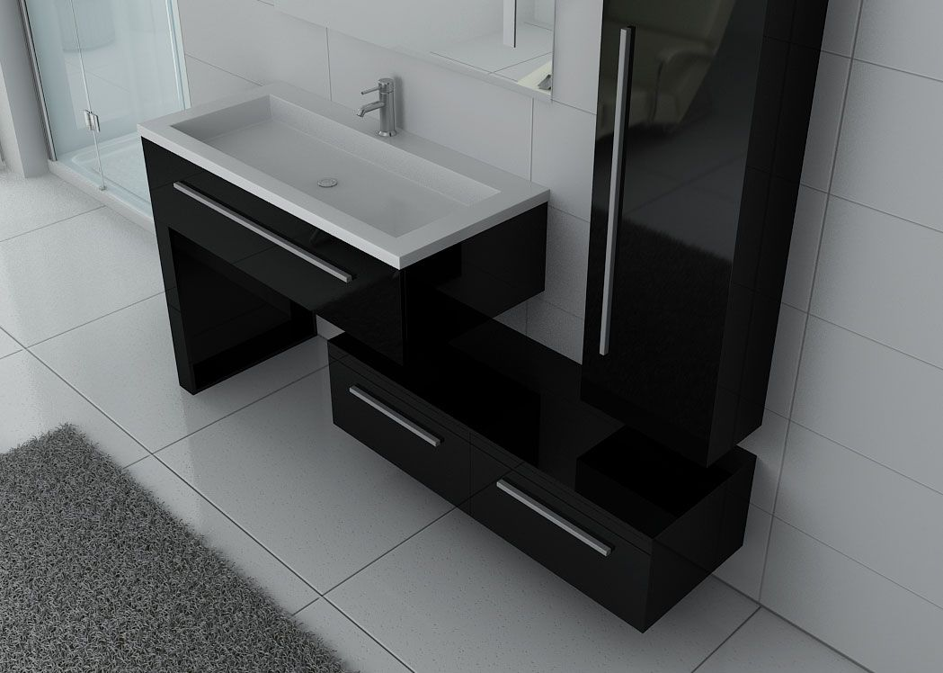 ensemble de meuble de salle de bain 1 vasque dis9251n ensemble de salle de bain noir distribain. Black Bedroom Furniture Sets. Home Design Ideas