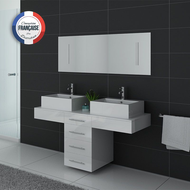 meuble de salle de bain double vasque blanc dis988b distribain. Black Bedroom Furniture Sets. Home Design Ideas