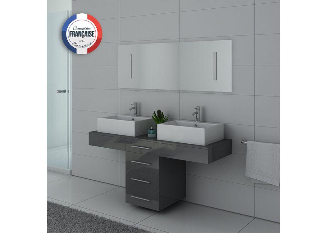 Meuble 2 vasques gris dis988gt meuble de salle de bain for Meuble gris