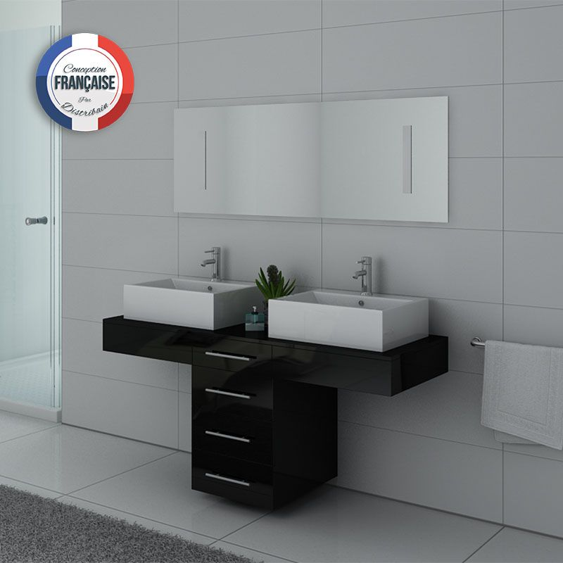 meuble de salle de bain double vasque noir dis988n distribain. Black Bedroom Furniture Sets. Home Design Ideas