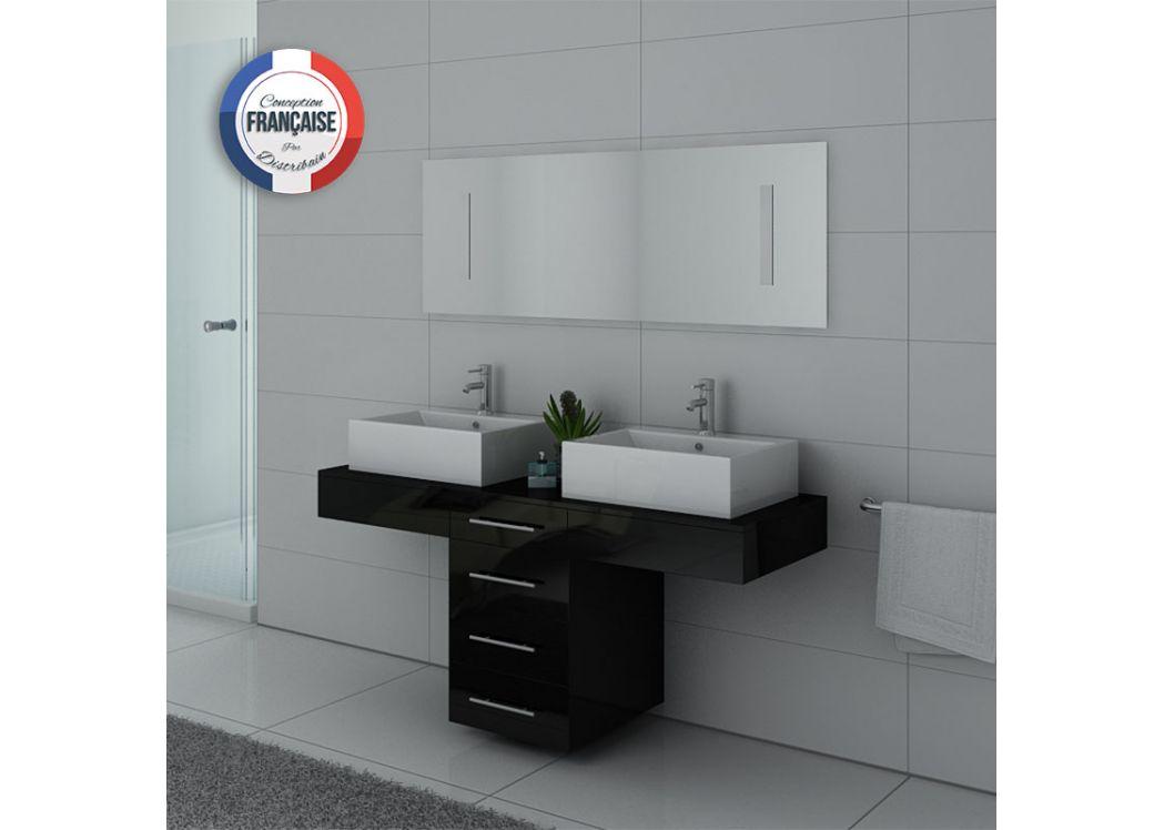 meuble de salle de bain double vasque noir dis988n. Black Bedroom Furniture Sets. Home Design Ideas