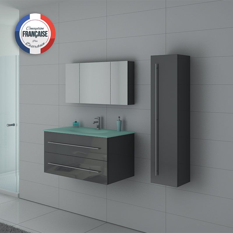 Meuble simple vasque dis983gt gris distribain for Meuble salle de bain porte basculante