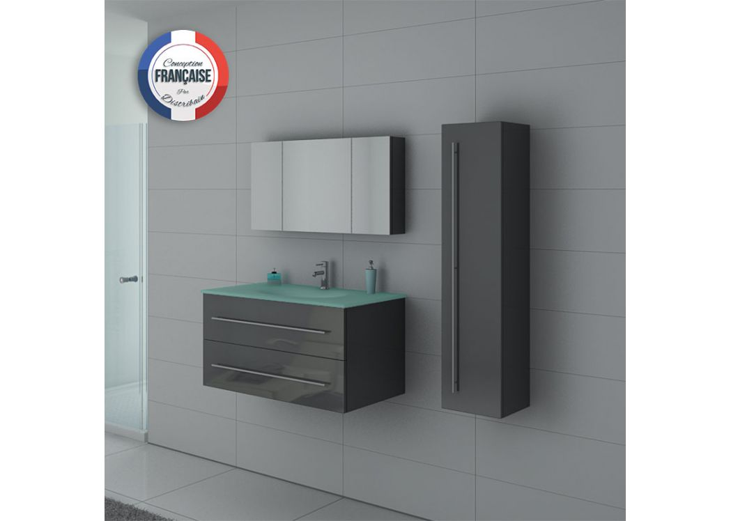 Meuble simple vasque dis983gt gris distribain for Meuble vasque angle salle de bain