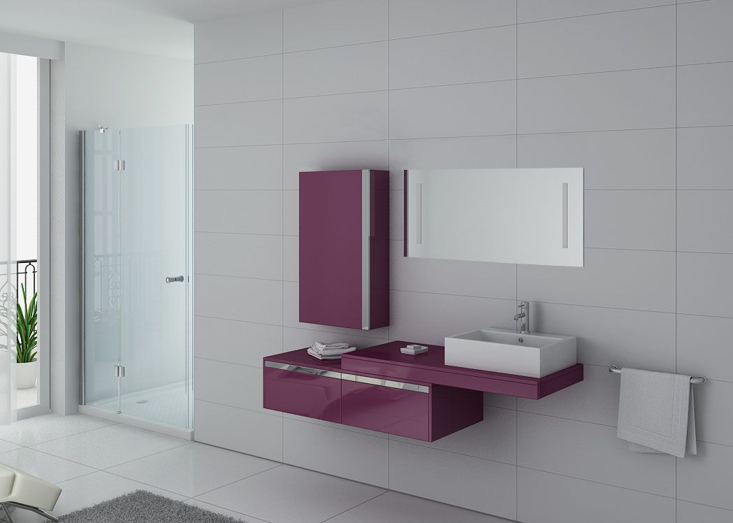 meuble de salle de bain 1 vasque aubergine meuble simple. Black Bedroom Furniture Sets. Home Design Ideas