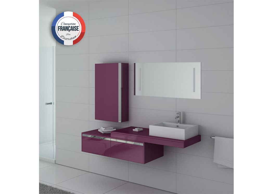 Meuble de salle de bain 1 vasque aubergine meuble simple for Ensemble meuble salle de bain simple vasque