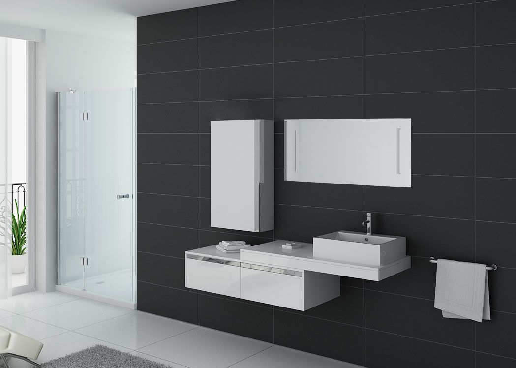 meuble de salle de bain suspendu simple vasque meuble de salle de bain blanc dis9550b distribain. Black Bedroom Furniture Sets. Home Design Ideas