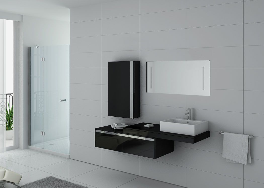 Meuble de salle de bain suspendu simple vasque dis9550n for Meuble vasque noir
