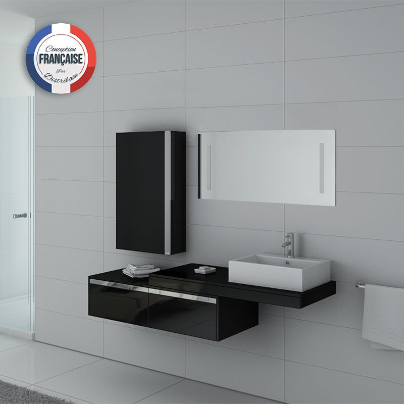 Meuble de salle de bain suspendu simple vasque dis9550n for Meuble vasque simple
