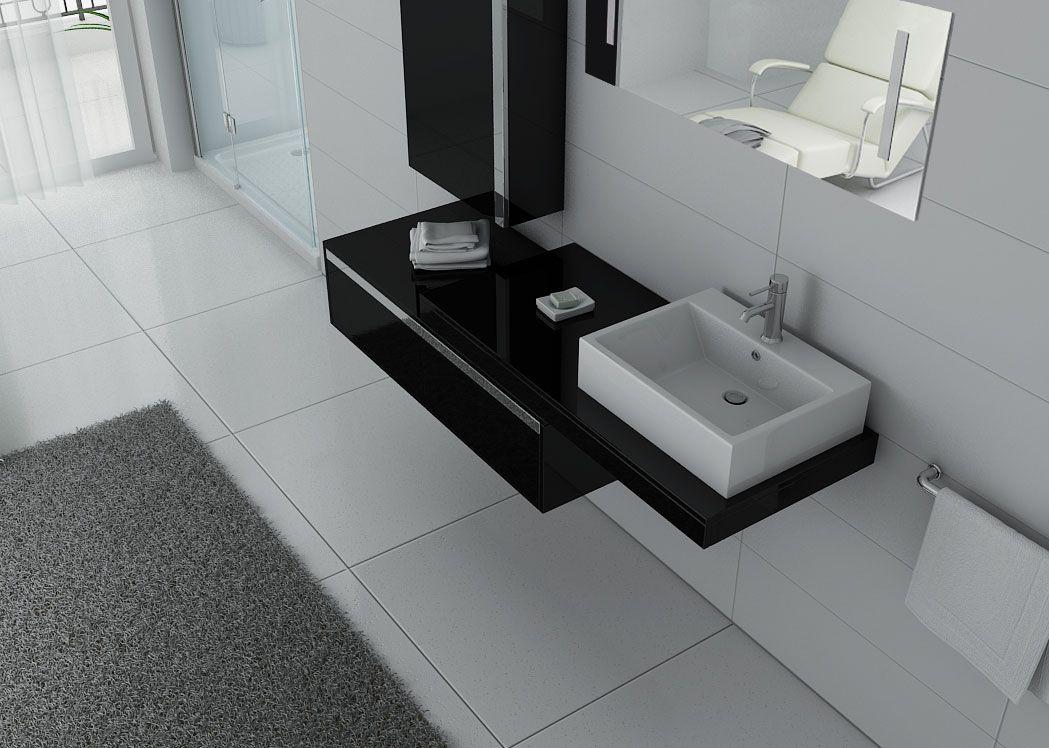Meuble de salle de bain suspendu simple vasque dis9550n for Meuble salle de bain noir
