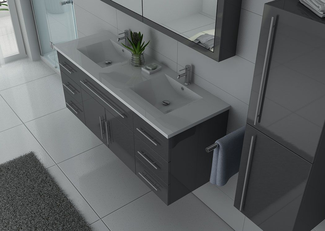 meuble de salle de bain double vasque gris meuble sous. Black Bedroom Furniture Sets. Home Design Ideas