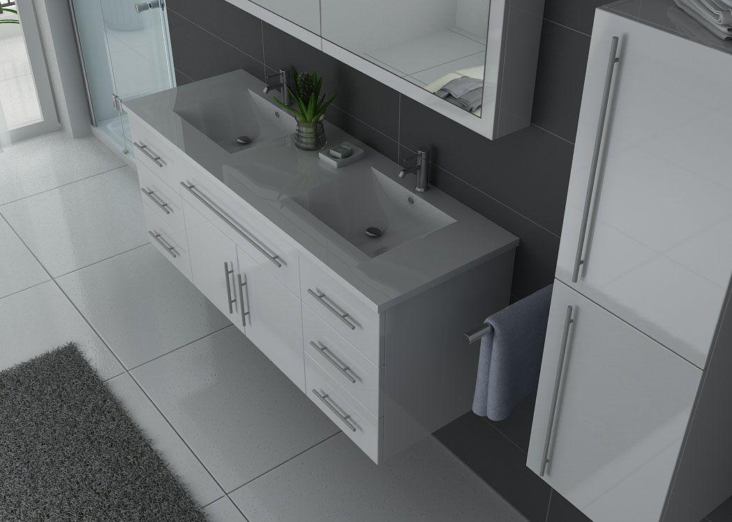 Meuble de salle de bain double vasque blanc meuble de for Meuble salle de bain avec deux vasques