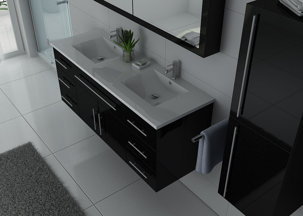meuble de salle de bain double vasque noir meuble de salle de bain vasque double dis749. Black Bedroom Furniture Sets. Home Design Ideas