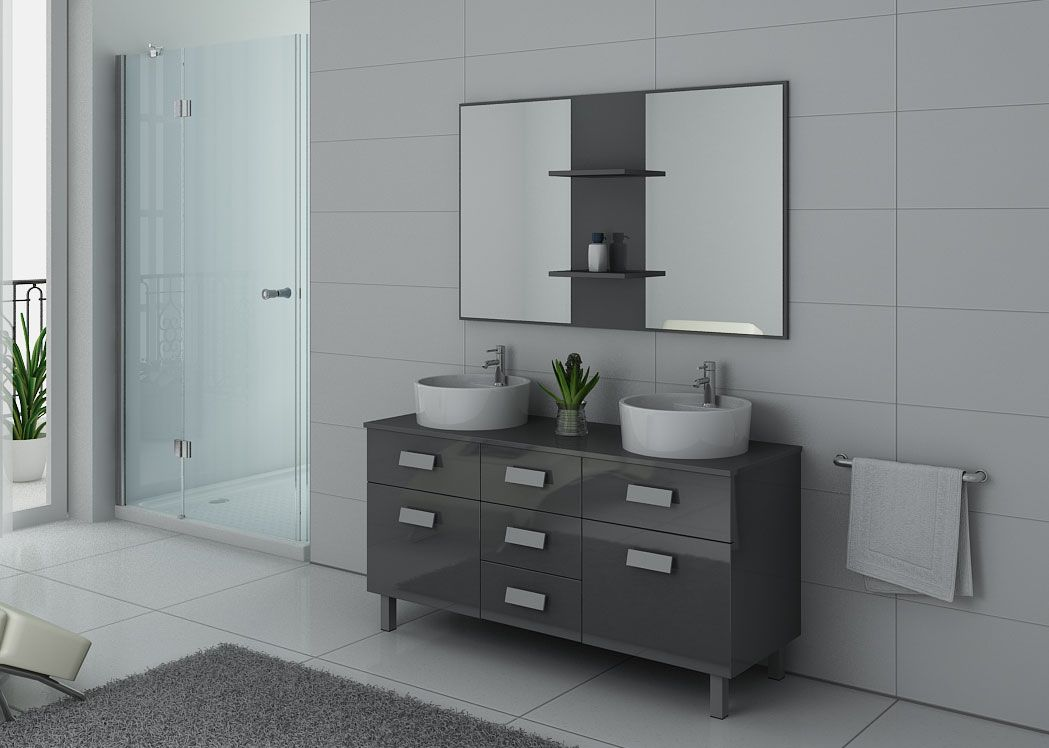 meuble de salle de bain 140 cm double vasque sur pied dis911gt gris taupe. Black Bedroom Furniture Sets. Home Design Ideas