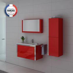 Meuble de salle de bain simple vasque rouge