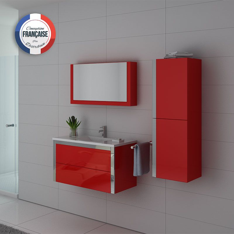 Meuble simple vasque dis025-900 couleur rouge coquelicot
