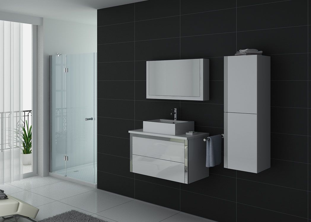Meuble de salle de bain blanc et inox dis026 900b distribain for Meuble vasque simple