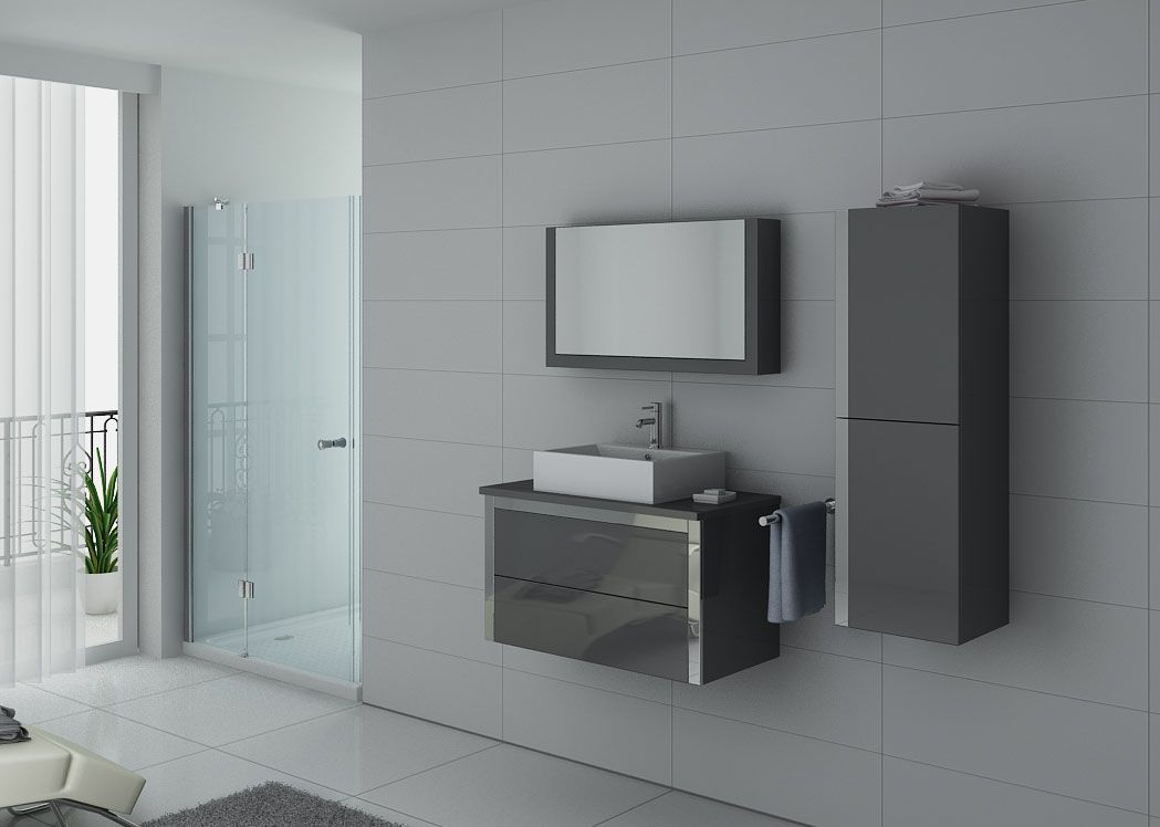 meuble de salle de bain gris taupe meuble de salle de bain 1 vasque dis026 900gt distribain. Black Bedroom Furniture Sets. Home Design Ideas