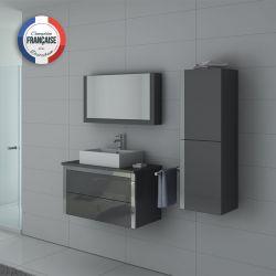 Ensemble de salle de bain DIS026-900 Gris Taupe et inox