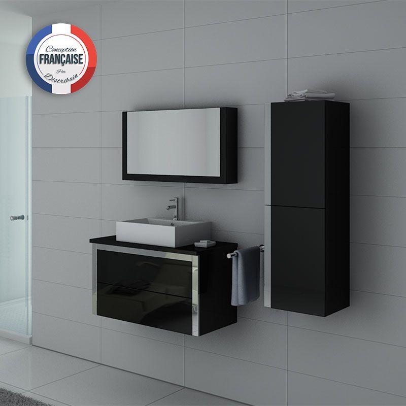DIS026-900 Noir ensemble simple vasque noir brillant