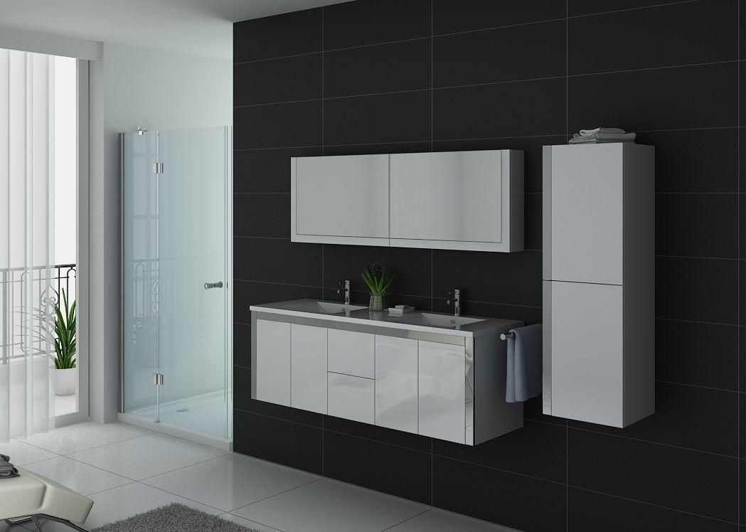 Meuble double vasque blanc et inox dis025 1500b distribain for Meuble vasque salle de bain but
