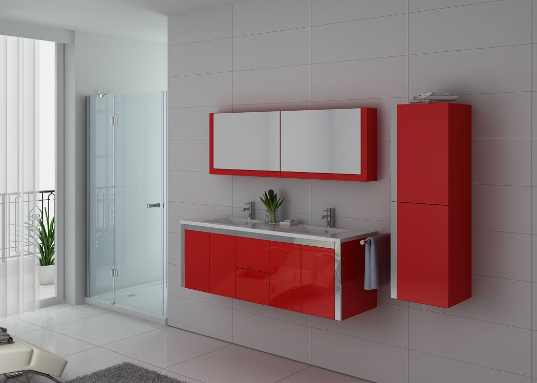 Meuble double vasque rouge dis025 1500co meuble double for Double vasque salle de bain