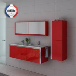 Mobilier pour salle de bain deux vasques integrées rectangulaires