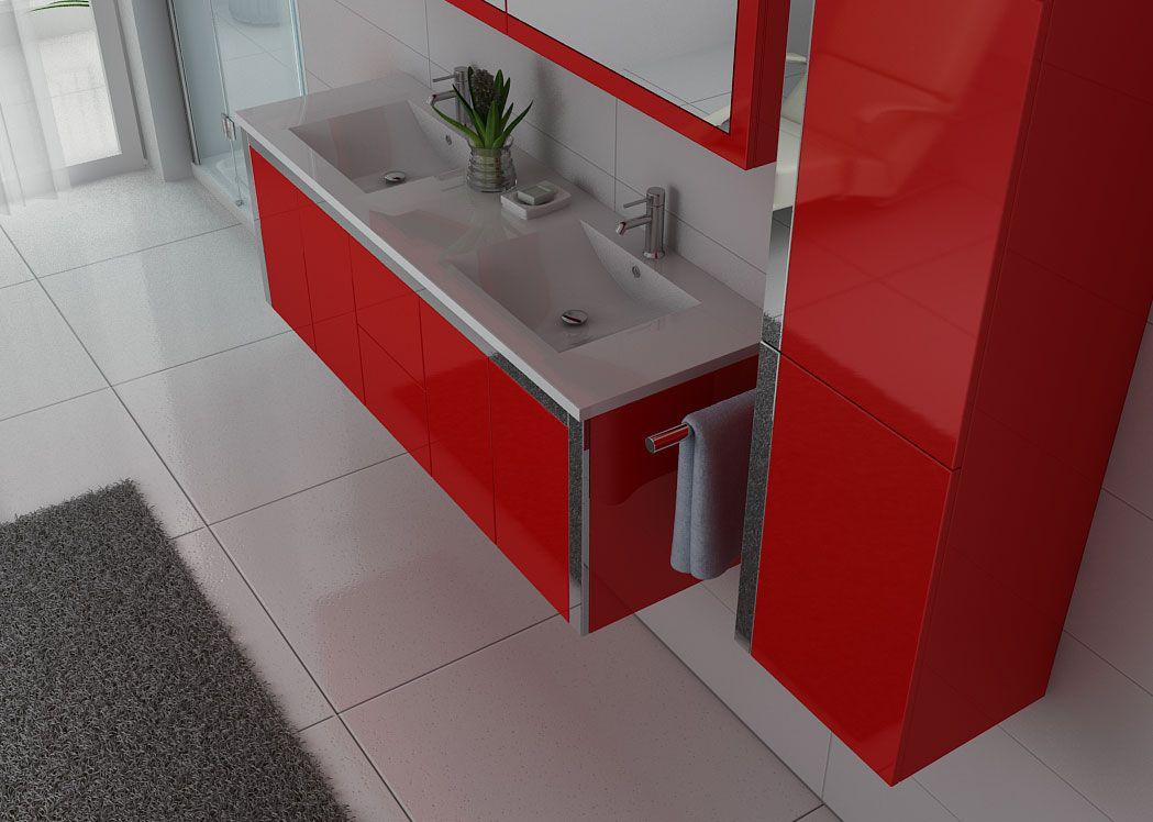 Meuble double vasque rouge dis025 1500co meuble double - Meuble double vasque ...