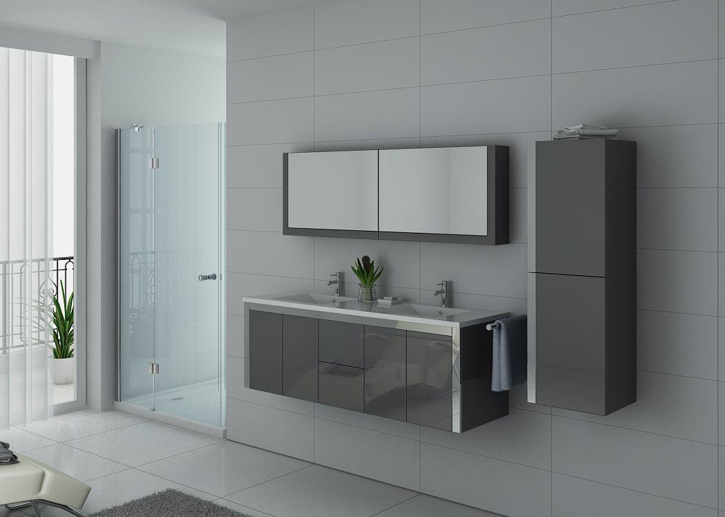 Meuble double vasque gris dis025 1500gt distribain for Meuble salle de bain gris