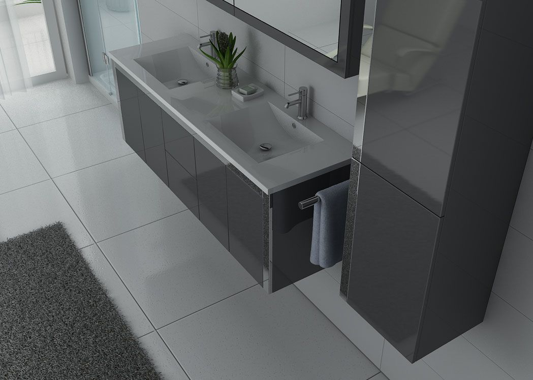 Meuble double vasque gris dis025 1500gt distribain for Meuble vasque