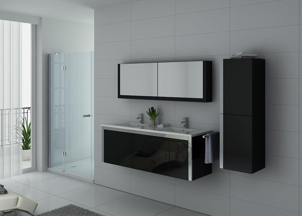 Meuble de salle de bain noir double vasque meuble double vasque avec colonne dis025 1500n - Meuble de salle de bain double vasque avec pied ...
