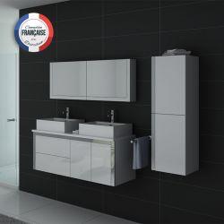 Ensemble double vasque DIS026-1300 Blanc laqué Blanc
