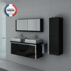 Meuble double vasque noir laqué DIS026-1300
